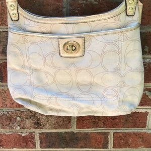 Coach Crossbody - Linen colored with Gold trim